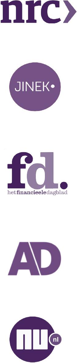 Logo's van NRC, Jinek, FD, AD en NU.nl